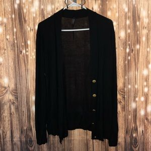 Black Stretch Cardigan w/ Gold Buttons
